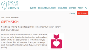 Skokie Public Library GiftMatch screenshot